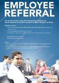 Resume Samples Bca Students by First American India Fai Employee Referral