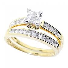 10k yellow gold bridal set 1 2cttw princess cut diamonds 2pc set