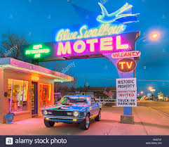 Classic Motel Twilight At The Historic Blue Swallow Motel On Route 66 A 1970