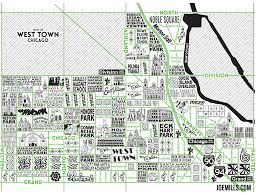 L Chicago Map by West Town Map U2013 Joe Mills