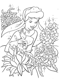 princess cinderella and many flowers coloring page for kids