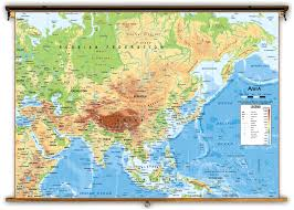 Us Map Topography Asia Physical Classroom Map From Academia Maps