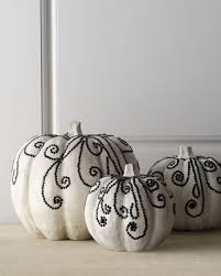 Horchow Home Decor Bejeweled White Pumpkins