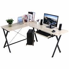 Corner Desk Computer Workstation L Shaped Computer Workstation Corner Desk Set With Book Shelf Home