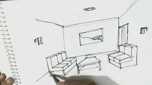 how to draw interior view of room one point perspective in easy