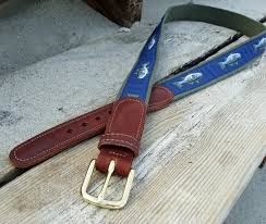 preppy ribbon belts striper sea bass nautical belt with leather tabs skipjack