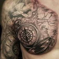 chest arm 9 arm and map tattoos