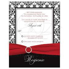 Invitation With Rsvp Card Wedding Response Card Black White Damask Printed Red Ribbon