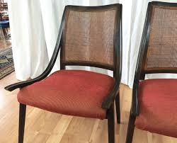 Cane Back Dining Room Chairs Four Cane Back Walnut Dining Chairs By Richard Thompson For Glenn