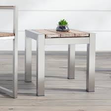 Teak And Stainless Steel Outdoor Furniture by Macon Square Teak Outdoor Side Table Whitewash Outdoor
