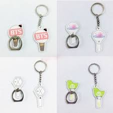 bts light stick keychain kpop got7 seventeen bts exo light stick finger ring phone stand