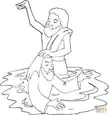 baptism of jesus in river jordan coloring page free printable