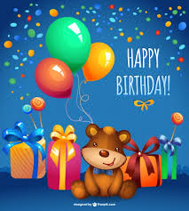 happy birthday card with balloons and confetti vector free download