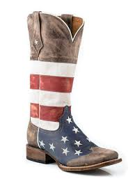 Country Western Clothing Stores Roper Womens Americana Brown Collection American Flag Square Toe