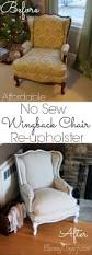 Wingback Chair Slipcover Pattern Super Affordable Diy No Sew Wingback Chair Re Upholster Tutorial