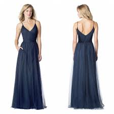 navy tulle a line long bridesmaid dresses cheap modest formal