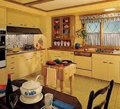 Retro Style Kitchen Cabinets Kitchen Captivating Retro Kitchen Decoration Using Vintage Yellow