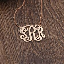Monogrammed Necklace Aliexpress Com Buy 925 Silver Monogrammed Necklace Name Rose