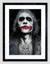 joker heath ledger inked framed print by w