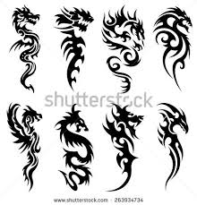 tribal tattoo snake dragon set design stock vector 263934734