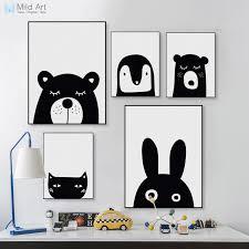 poster chambre b noir blanc kawaii animaux ours lapin poster prints nordique bébé
