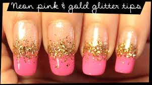neon pink u0026 gold glitter tips nail art youtube