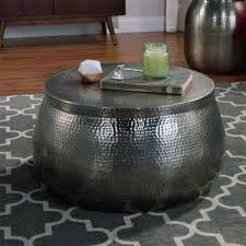 silver drum coffee table cala hammered coffee table world market