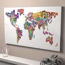 Artistic World Map by Typography World Map Art Print By Artpause Notonthehighstreet Com
