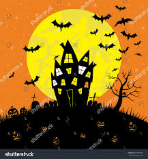 happy halloween haunted house full moon stock vector 675987388