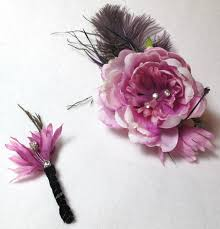hair corsage purple peony corsage and boutonniere set