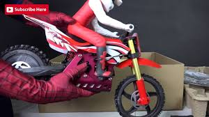 toy motocross bikes real life super hero spiderman unboxing super rider sr4 electric