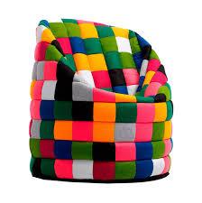 puff saco en patchwork de fieltro multicolor pouf world
