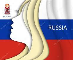 Eussian Flag Russian Woman Russian Flag U2014 Stock Vector Nemetse 56137573