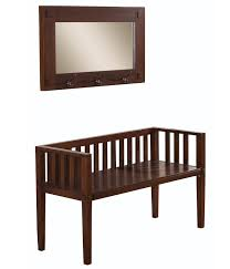 lovable entry storage bench with mirror in dark brown color