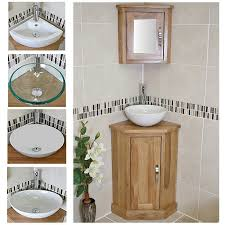 Corner Vanity Units With Basin Oak Top Corner Unit Basin Choice U0026 Mirrored Cabinet 501cbc601