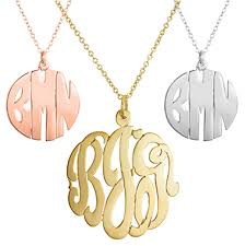 monogram pendants metal pendant necklace with chain initial reaction
