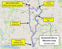 Cherry Blossom Map The Kenwood Cherry Blossom Loop 15 Miles Bike Rockville