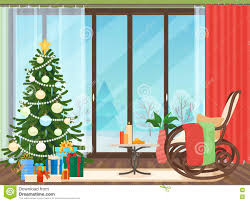 Christmas Livingroom Christmas Livingroom Flat Interior With Rocking Chair Vector
