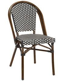Wicker Bistro Chairs Black White Rattan Weave Bistro Aluminum Restaurant Chairs