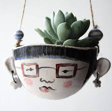 ceramic mini hanging planter for small plants by jo lucksted