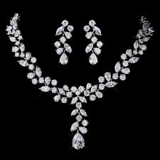 bridal jewelry cz wedding necklace and earring set geneva bridal jewelry set
