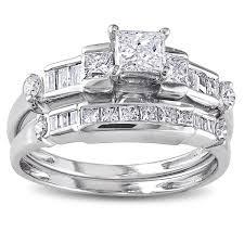 Princess Cut Diamond Wedding Rings by 14k White Gold 1ct Tdw Baguette And Princess Cut Diamond Bridal