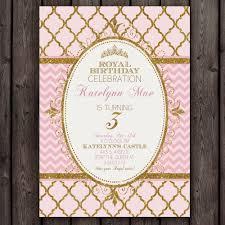 pink and gold princess invitation royal princess party