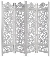 Wooden Room Dividers by White Antique Room Divider Screen 4 Folding Panel Handcrafted Wood