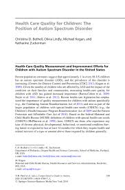 health care quality for children the position of autism spectrum