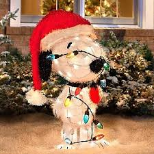Christmas Outdoor Decorations Peanuts by Peanuts Gang Snoopy Tangled Up In Chrimstas Lights Outdoor