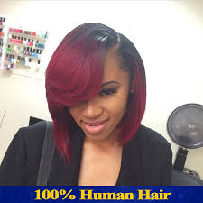 bob full lace human hair wigs for black women red ombre lace front