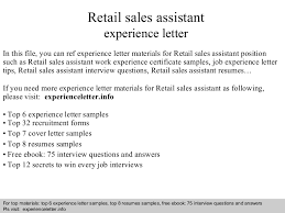 Retail Sales Assistant Resume Sample by Retailsalesassistantexperienceletter 140826110733 Phpapp01 Thumbnail 4 Jpg Cb U003d1409051274