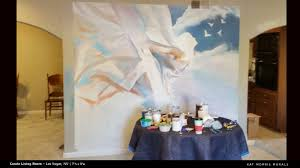 kat morris murals best chattanooga mural painter angel mural end of day 1 note the taupe color on the wall you can see where we were testing blue colors left and taupe colors right for the final