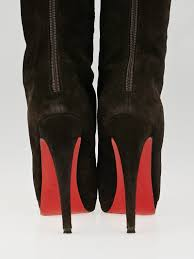 christian louboutin brown suede alti botte 160 knee high boots